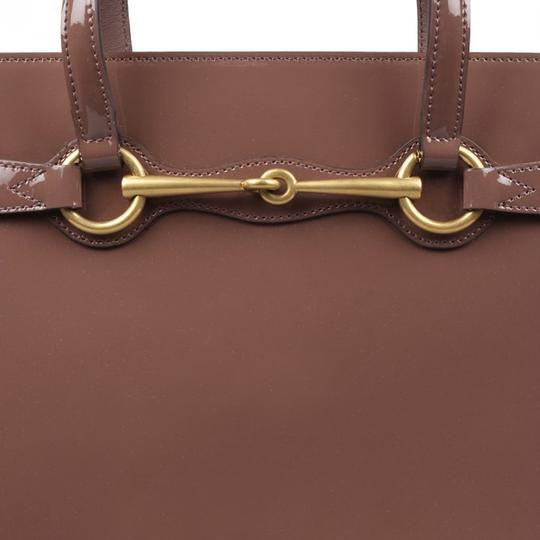 Gucci Patent Leather Horsebit Gold Hardware Patent Structured Satchel in Mauve Pink