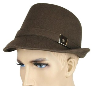Gucci New Brown Wool Fedora Hat w/Silver Plaque Logo Size M 322289 2366