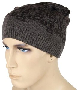 Gucci New Gucci Brown Wool Beanie Hat with Horsebit Pattern 369627 2164