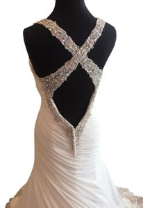 Justin Alexander Ivory Gown with Silver Lillian West 6310 Wedding Dress Size 10 (M)