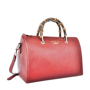 Gucci Bamboo Leather Bamboo Gold Hardware Satchel in Red