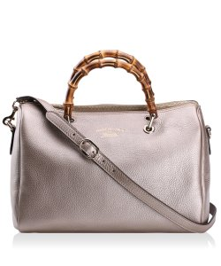 Gucci Bamboo Leather Bamboo Gold Hardware Satchel in Metallic Golden Beige