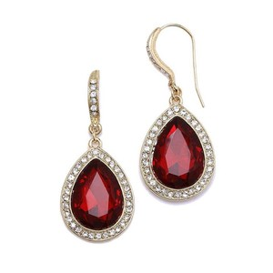 Mariell Gold Vintage Glam Red Crystal Pear Drop Earrings