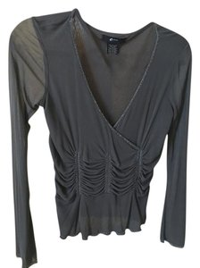 E by Eci Top Gray Silk
