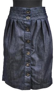 Anthropologie Pleated High Waist Denim Skirt