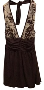 Alice + Olivia Brown and gold Halter Top