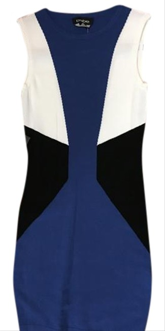 Item - Blue/White/Black Sleeveless Crew Neck Color Mid-length Night Out Dress Size 0 (XS)