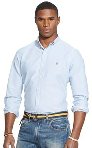Polo Ralph Lauren Logo Cotton Button Down Shirt BSR BLUE