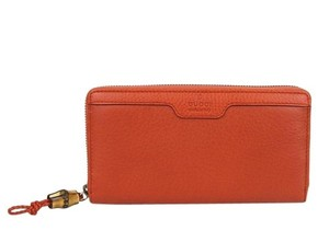 Gucci Hip Bamboo Leather Zip Around Clutch Wallet 339178 Dark Orange 6419