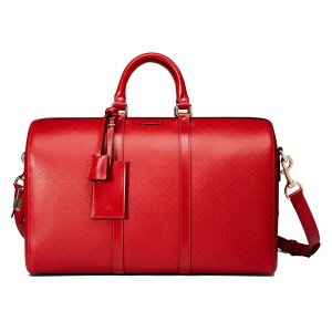 Gucci Diamante Leather 355639 Duffle Tabasco Red Travel Bag
