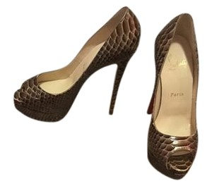 Christian Louboutin Python Python, Brown Pumps