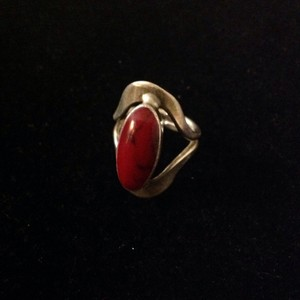 925 silver coral ring Art deco jewelry