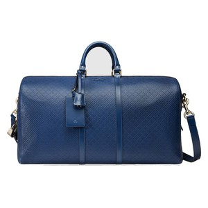 Gucci Diamante Leather 355639 Duffle Cove Blue Travel Bag