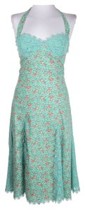 Betsey Johnson short dress aqua/teal green with green, coral and pink Halter Strawberry Fields on Tradesy