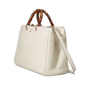 Gucci Bamboo Leather Tote Gold Hardware Satchel in Off-White Leather