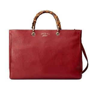 Gucci Bamboo Leather Tote Gold Hardware Satchel in Red