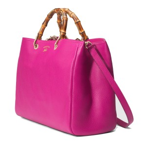 Gucci Bamboo Leather Tote Gold Hardware Satchel in Bright Pink