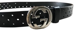 Gucci Gucci Leather Perforated Belt GG Buckle