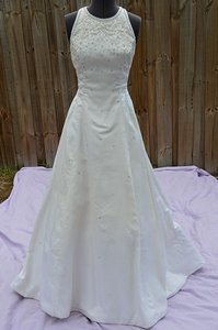 Sleeveless Silk Cathedral Train Wedding Dress
