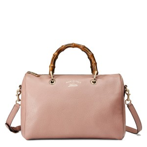 Gucci Bamboo Leather Bamboo Gold Hardware Satchel in Mauve Pink