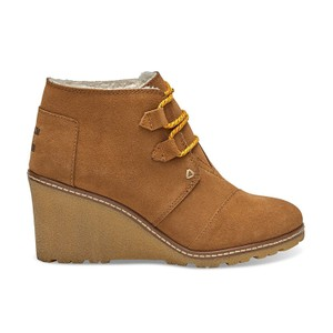 TOMS Desert Wedge Faux Crepe Wheat Suede with Shearling Boots