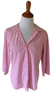 Saks Fifth Avenue Button Down Shirt Pink and White