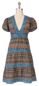 Anthropologie short dress Brown, Blue, White, Yellow, Orange, Green on Tradesy