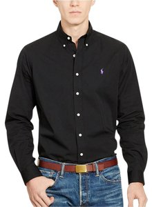 Polo Ralph Lauren Logo Cotton Button Down Shirt BLACK