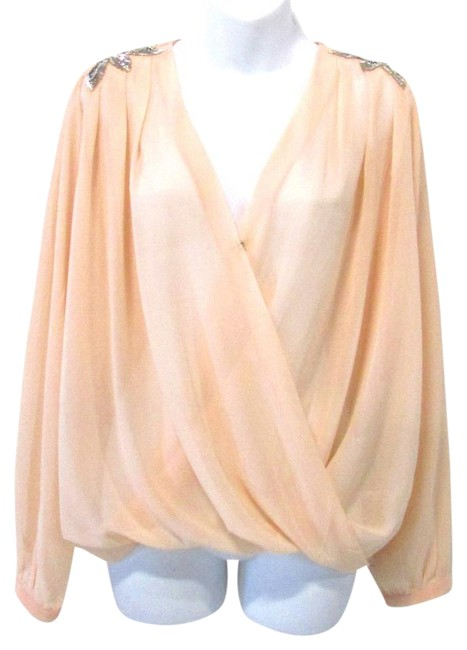 Item - Peach Faux Wrap Sheer Long Sleeve with Beaded Shoulders Blouse Size 14 (L)
