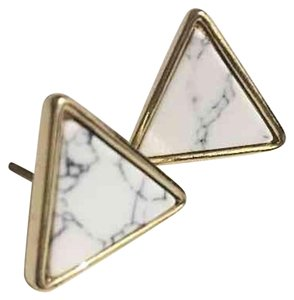 Other Gold Plated White Marble Stud Earrings