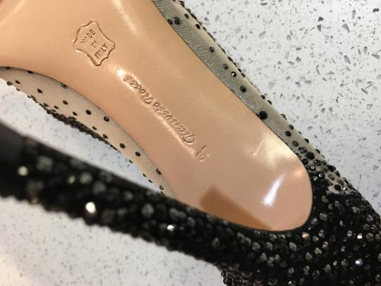 Gianvito Rossi Pointed Toe Crystal Mesh Black/Nude Pumps