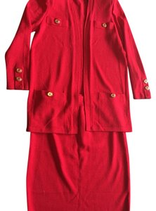 St. John Red skirt suit