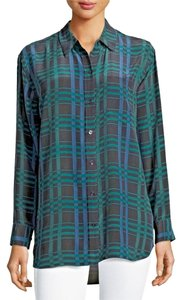 Equipment Femme 100% Silk Button Down Shirt Blue, green and black