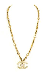 Chanel Chanel Vintage Goldtone Crystal CC Necklace
