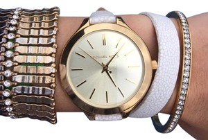Michael Kors Michael Kors white leather wrap watch