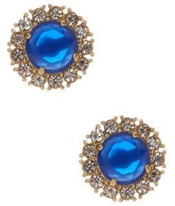 Kate Spade Nwt Royal Blue Yellow Gold Secret Garden Stud Earrings