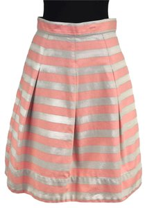 Corey Lynn Calter Striped Pleated A-line Mini Skirt Pink