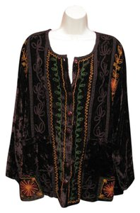 Antthony Mark Hankins Boho Velvet Embroidered Artsy Tunic