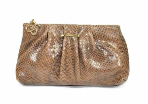 Stella & Dot Leather Python Print Zip Brown Clutch