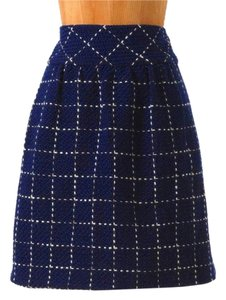 Anthropologie Grid Pattern Mini Skirt Blue