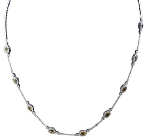 Dignity Jewels 18K White Gold Necklace/Diamond- 1.55ct/Yellow Sapphire- 3.00ct