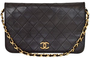 Chanel Quilted Lambskin Single Flap Clutch Shoulder Bag
