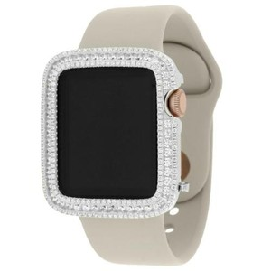 Apple Apple Watch Sport 38mm Rose Gold Tone Aluminum Case W Stone Sport Band Iced Out