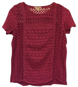 Lucky Brand Knit Lace Top Magenta