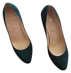 Christian Louboutin Peaock Suede Stiletto Peacock Green Pumps