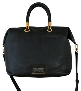 Marc by Marc Jacobs Crossbody Soft Gold Leather Satchel in Black