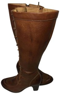 Frye 77093 Fiona Lace Up Motorcycle Size 7 Brown Boots
