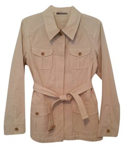 Liz Claiborne Cotton Stretch Khaki/Ivory Stripe Blazer