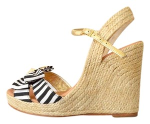 Kate Spade Striped Black & White Wedges