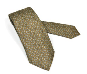 Herms Brown Chain Link Print Silk 976 Sa Neck Tie